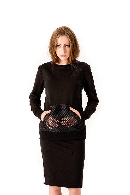 Bluza z kieszonką z siatki - czarna