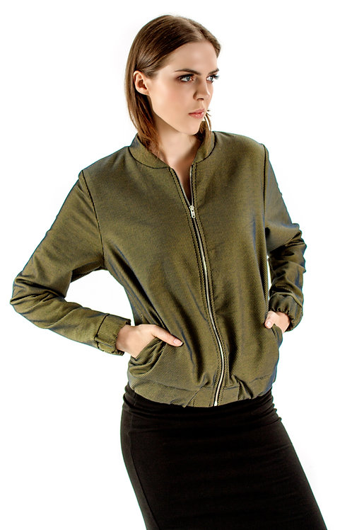 Bomber jacket prążki - khaki