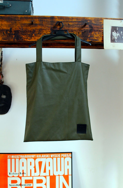 Torba shopper z eko-skóry Khaki