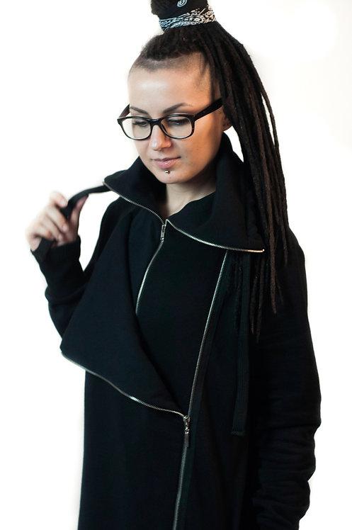 Długa bluza z klapą i dwoma suwakami