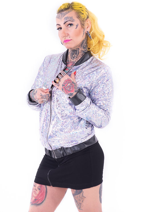 Bomber jacket metalic - srebrny hologram