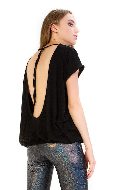 T-shirt z czarnej dzianiny z wiązaniem na plecach
