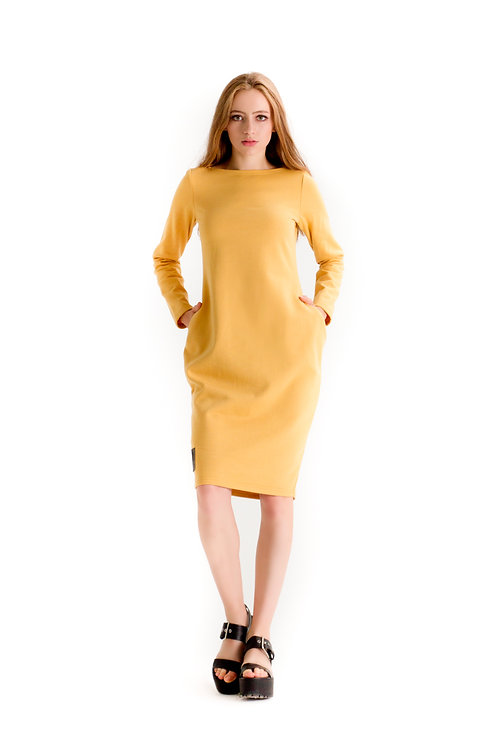 Sukienka 3D Musztardowa
