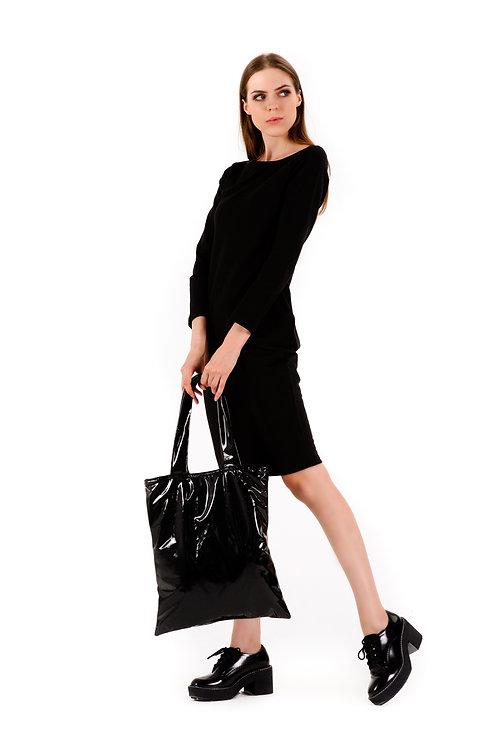 Torba shopper z czarnej, lakierowanej skóry ekologicznej