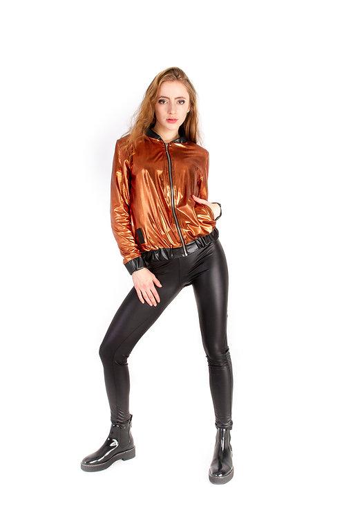 Bomber jacket metalic - miedziany