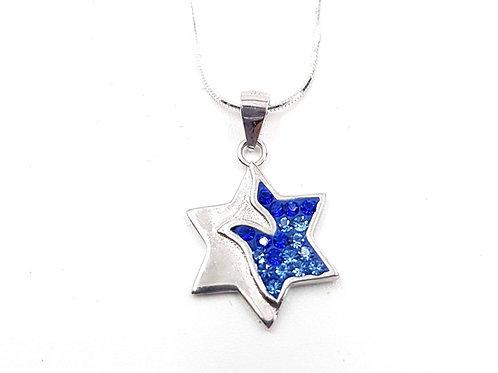 שרשרת מגן דוד כסף וזרקוני כחול