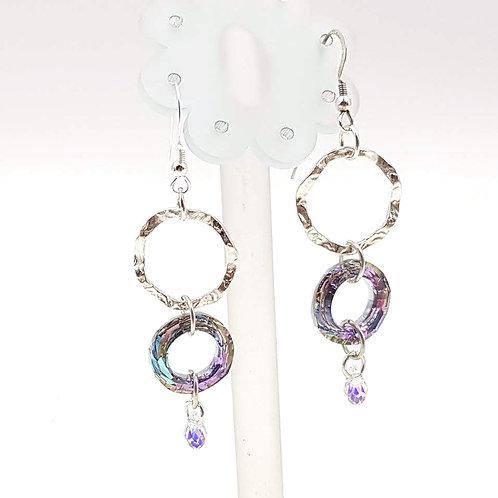 עגילי חישוקי Swarovski  וכסף. Silver and Swarovski hoop earrings