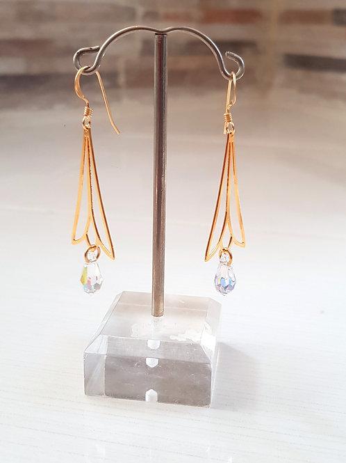 "עגילי ""פעמון"" . The ""Bell"" earrings. goldfilled and Swarovsky"