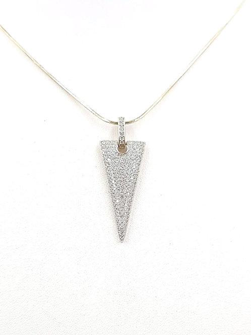 משולש כסוף משובץ זרקונים. כסף. Sparkling silver triangle