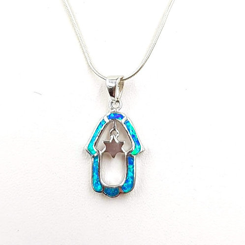 חמסה כסף משובצת אופל כחול עם מגן דוד.Blue opal inlaided Silver Chamsa