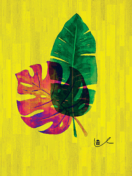 'Tropical Leaves' Notecard