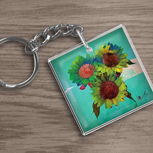 'Psilocyben Sunflowers' Keychain
