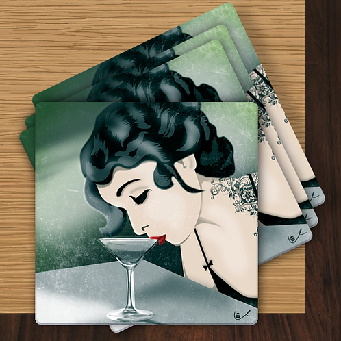 'Never Too Tired for Cocktails' Coasters
