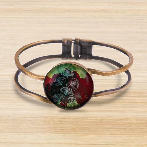 'Ginkgo / Ruby' Bezel Hinge Bracelet