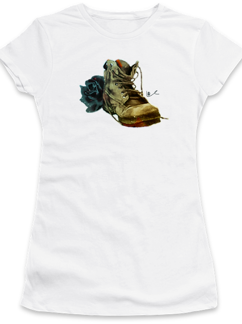 'Black Boot Bloody Rose' Womens T-Shirt