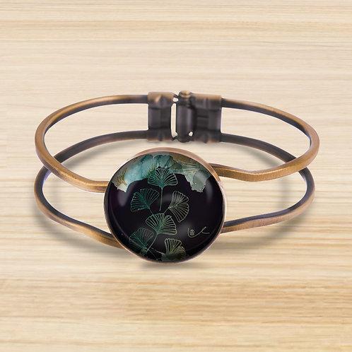 'Ginkgo / Dramatic' Bezel Hinge Bracelet