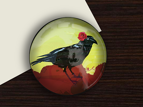 'Corvid with Rose' Paperweight