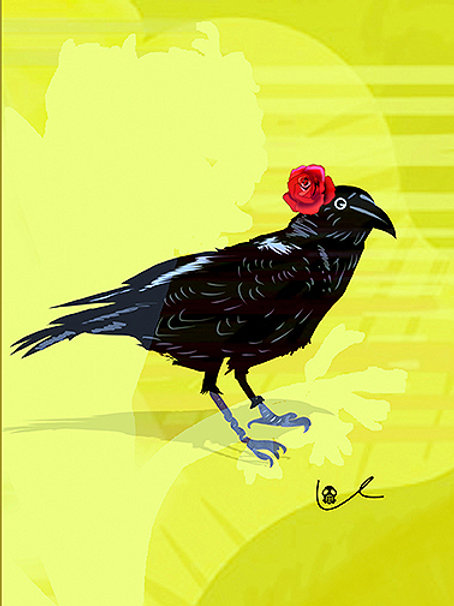 'Corvid with Rose' Notecard