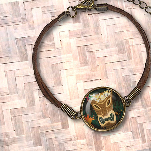 'Tiki Couture' Leather Bezel Bracelet