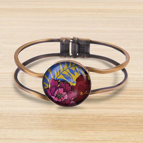 'Peony and Palm / Vibrant' Bezel Hinge Bracelet