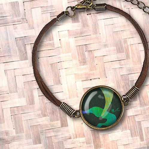 'A Mermaid's Taile' Leather Bezel Bracelet