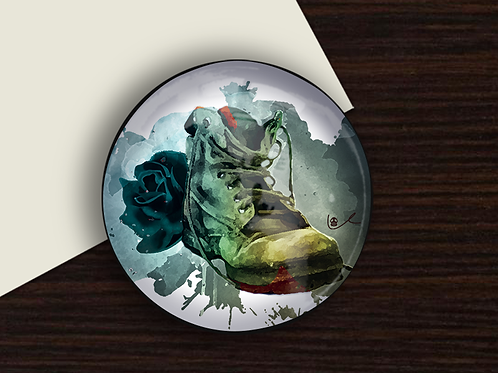 'Black Boot Bloody Rose' Paperweight