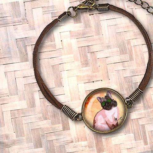 'Portrait of Layla' Leather Bezel Bracelet