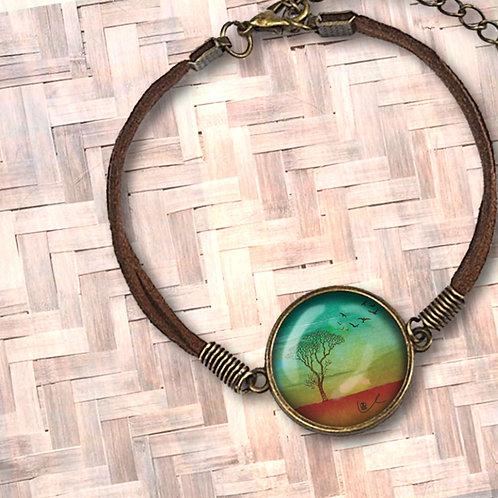 'I Bless the Plains' Leather Bezel Bracelet