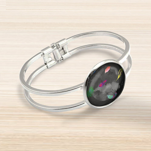 'Featherwood' Bezel Hinge Bracelet