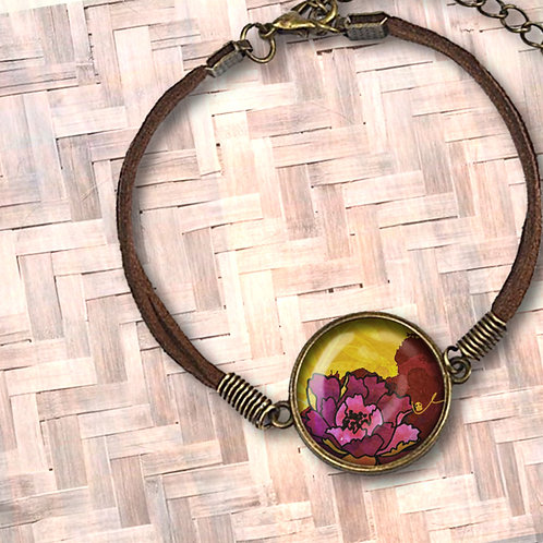 'California Peony' Leather Bezel Bracelet