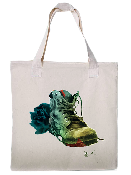 'Black Boot Bloody Rose' Canvas Tote