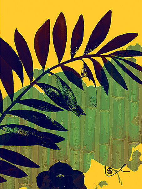'Palm Leaf and Bamboo' Notecard
