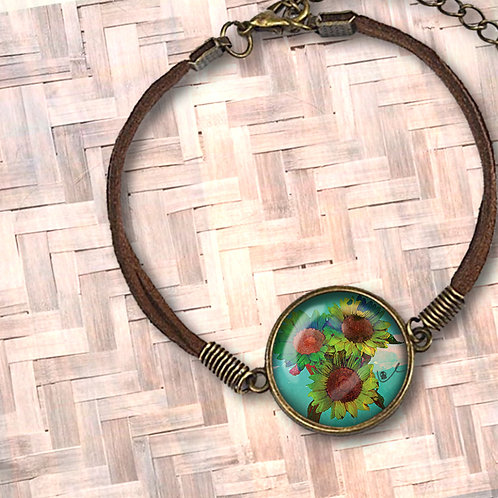 'Psilocyben Sunflowers' Leather Bezel Bracelet
