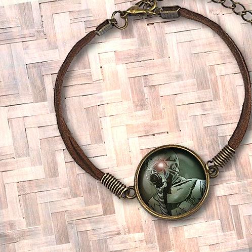 'Breathe Easy' Leather Bezel Bracelet