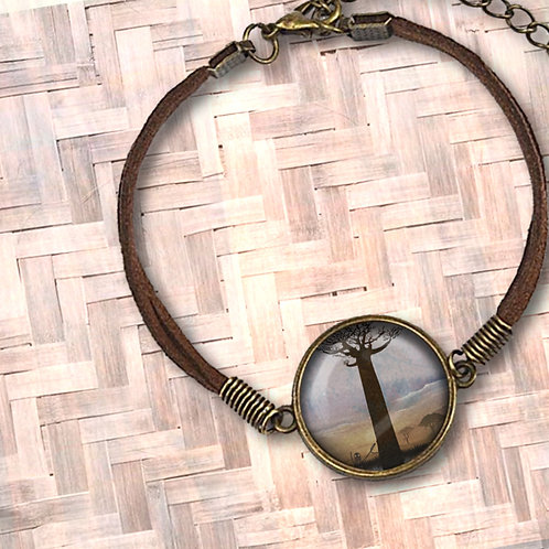 'A Lonely Boab' Leather Bezel Bracelet