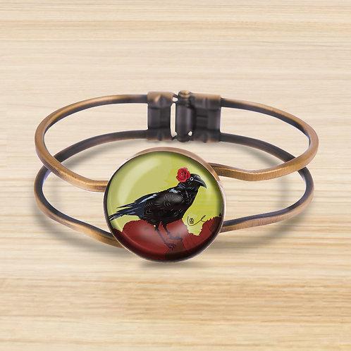 'Corvid with Rose' Bezel Hinge Bracelet