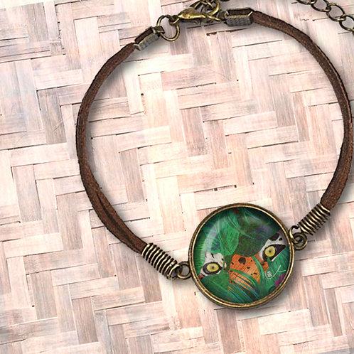 'Hidden Tiger' Leather Bezel Bracelet
