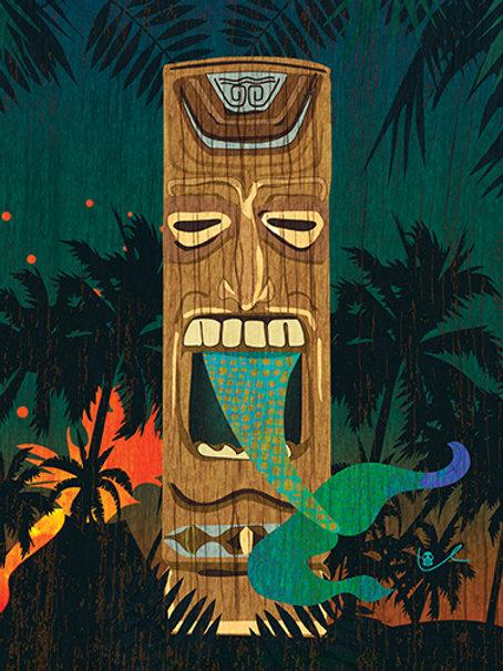 'Tiki Meets Mermaid' Notecard