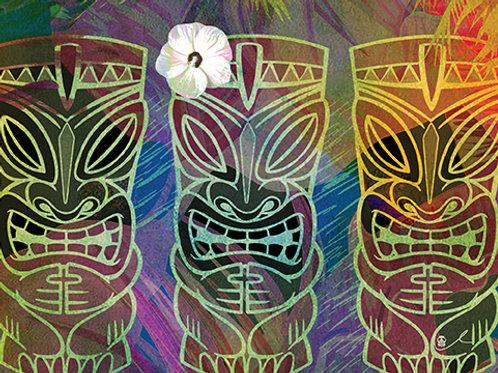 'Trippy Tiki Trio' Notecard