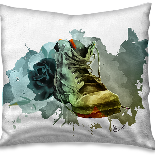 'Black Boot and Bloody Rose' Pillow