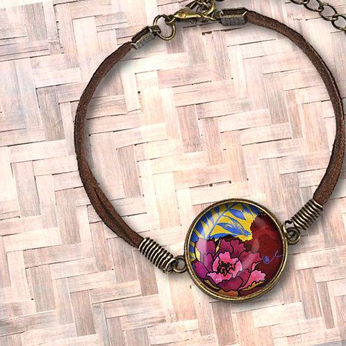 'Peony and Palm' Leather Bezel Bracelet