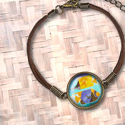 'Crazy Fish' Leather Bezel Bracelet