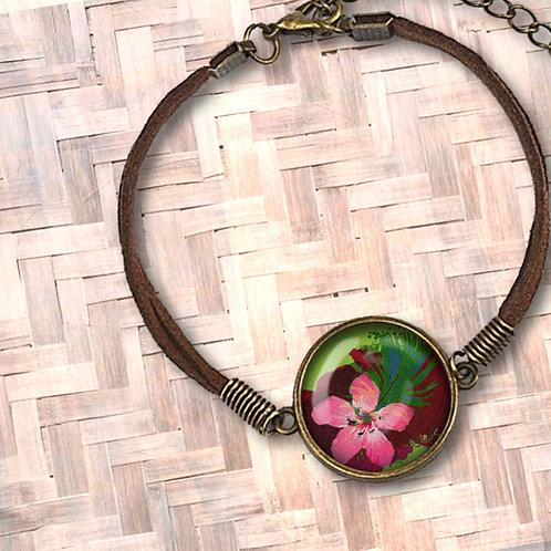 'Tropicale / Ruby' Leather Bezel Bracelet