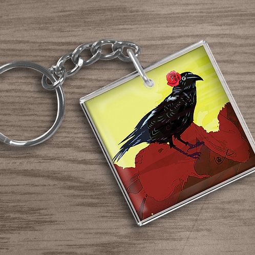 'Corvid with Rose' Keychain