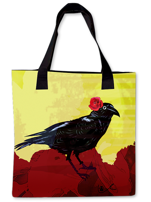 'Corvid with Rose' Canvas Tote