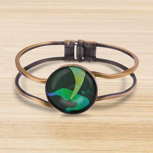 'A Mermaid's Taile' Bezel Hinge Bracelet