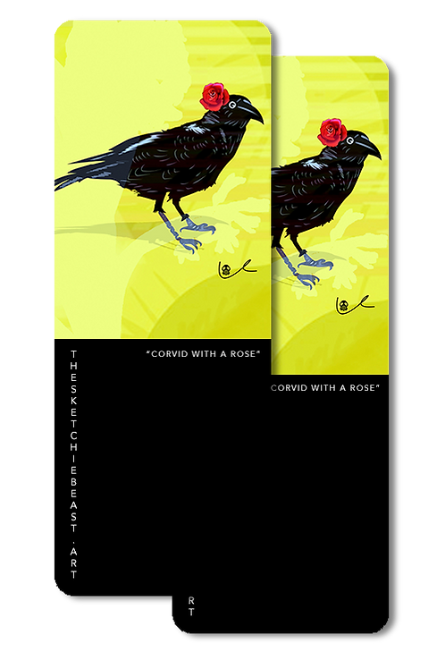 'Corvid with Rose' Bookmarks
