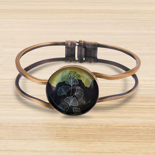 'Ginkgo / Dark' Bezel Hinge Bracelet