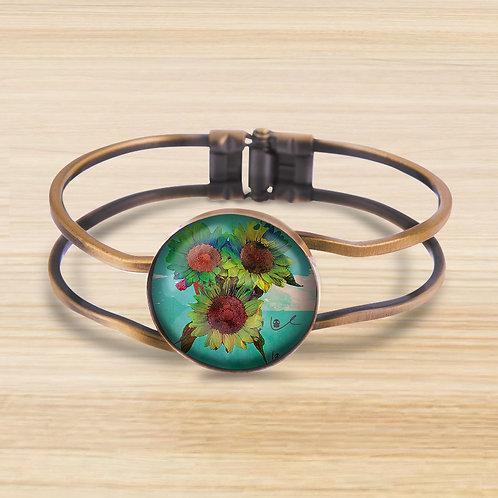 'Psilocyben Sunflowers' Bezel Hinge Bracelet