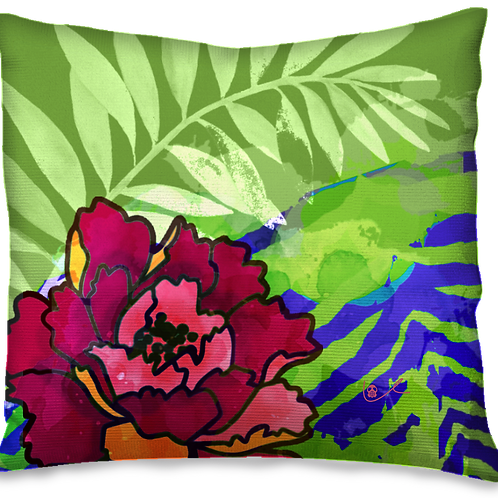 'Peony and Palm' Pillow